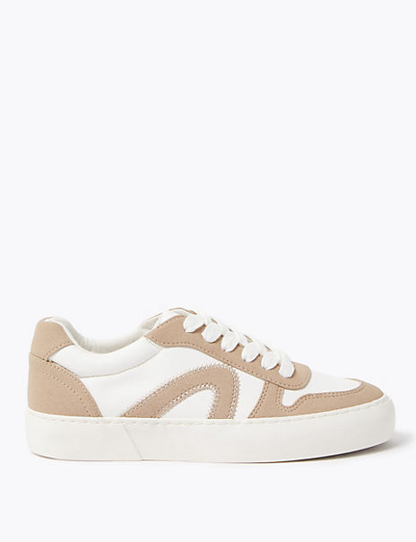 Lace Up Contrast Detail Trainers