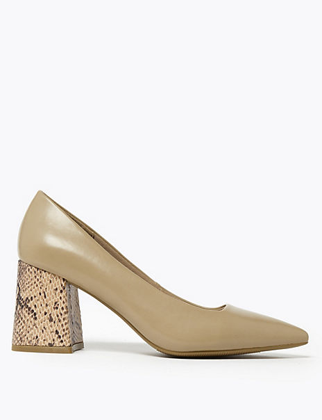 Block Heel Pointed Toe Court Shoes