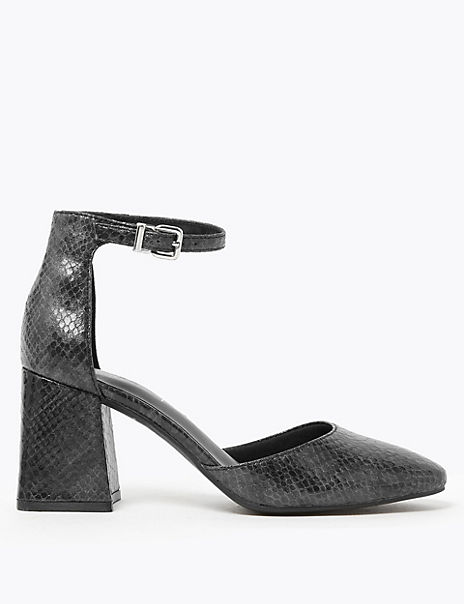 Ankle Strap Block Heel Court Shoes