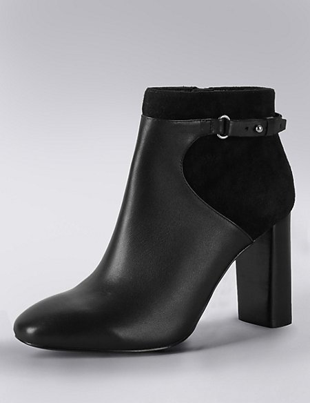 Leather Square Toe Ankle Boots with Insolia®