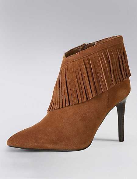 Stain Away™ Suede Fringe Trim Ankle Boots with Insolia®