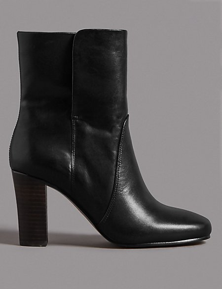 Product images. Skip Carousel. Leather Block Heel Ankle Boots dd6dae92d2a7