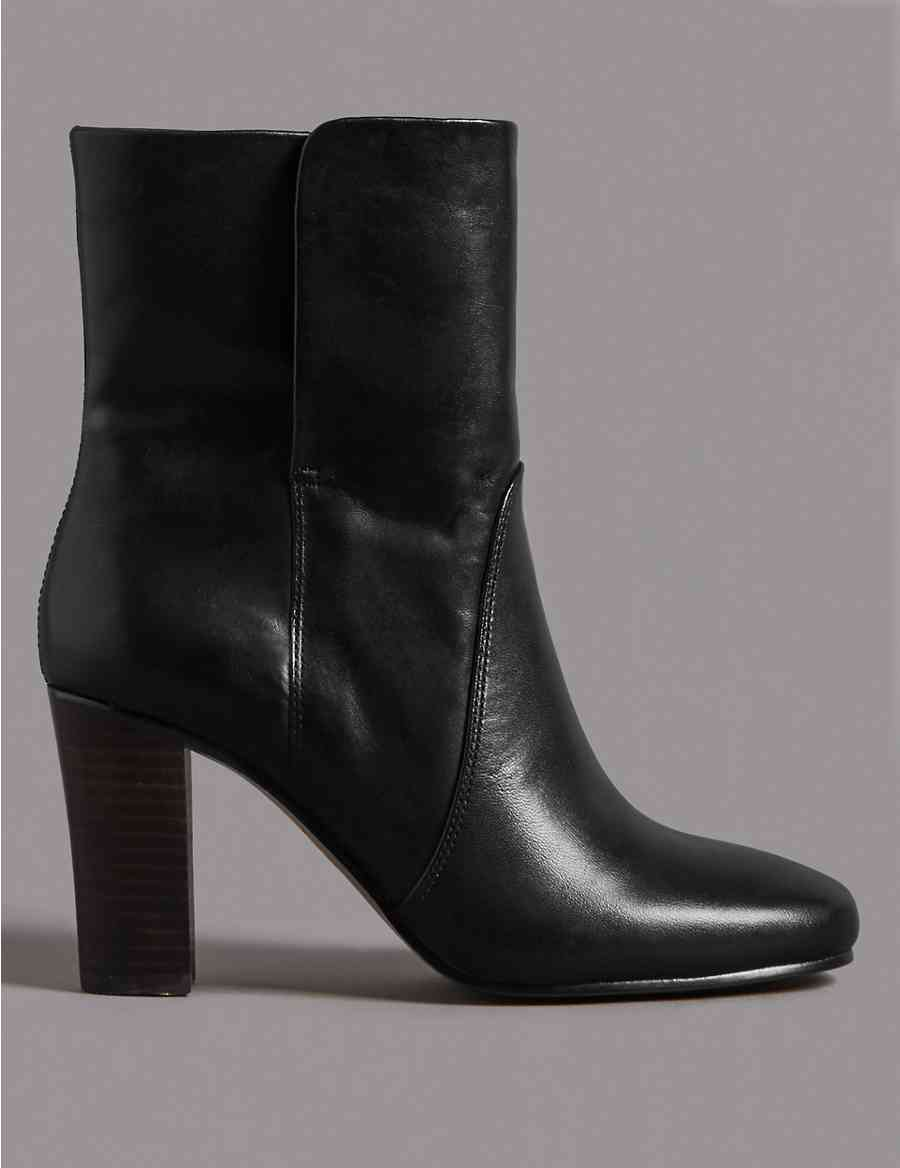c13020ed5dc Leather Block Heel Ankle Boots