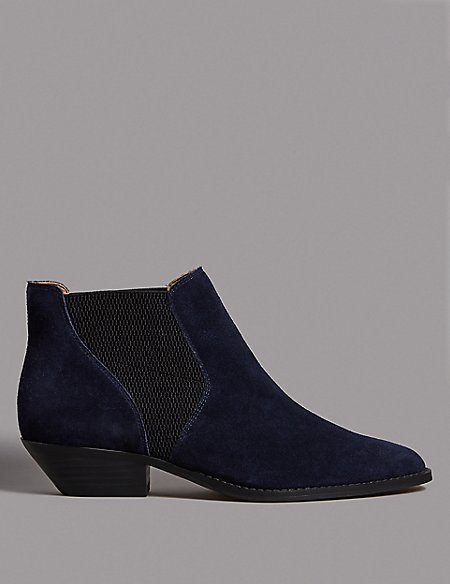 Suede Western Ankle Boot