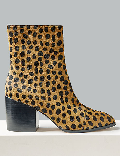 Leather Animal Print Square Toe Ankle Boots