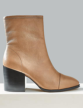 Leather Square Toe Ankle Boots