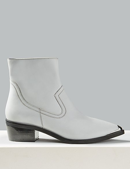Leather Block Heel Metal Toe Ankle Boots