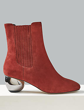Suede Mirror Heel Ankle Boots