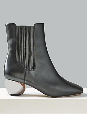 Leather Mirror Heel Ankle Boots