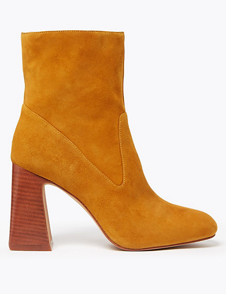 Suede Square Toe Flared Heel Ankle Boots