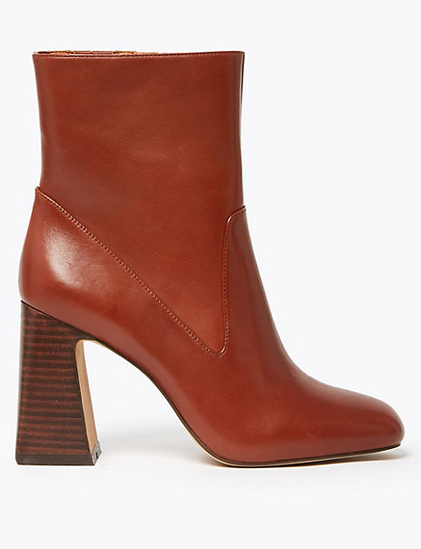Leather Flared Heel Ankle Boots