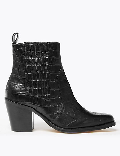Leather Crocodile Print Block Heel Boots