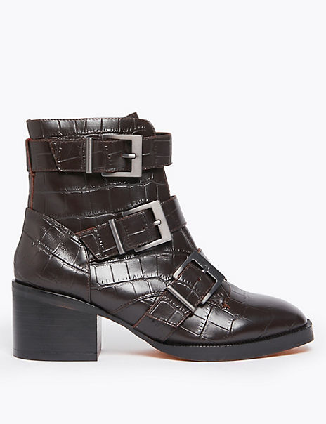 Leather Buckle Biker Ankle Boots