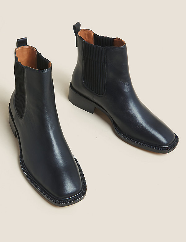 Leather Chelsea Square Toe Boots