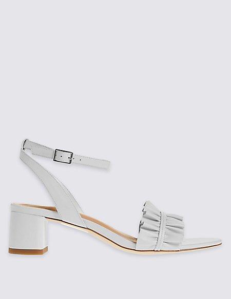 Leather Block Heel Ruffle Sandals