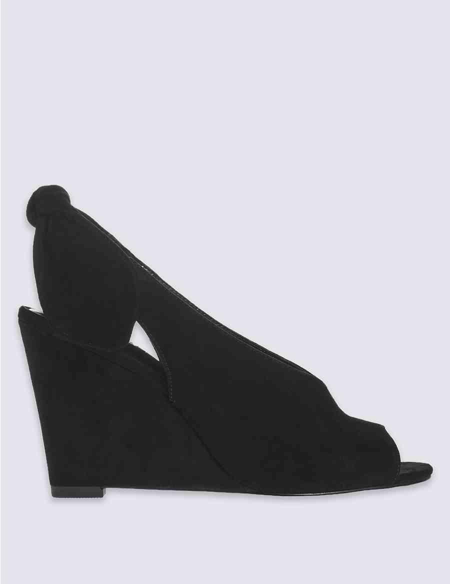 Suede Wedge Heel Bow Back Sandals