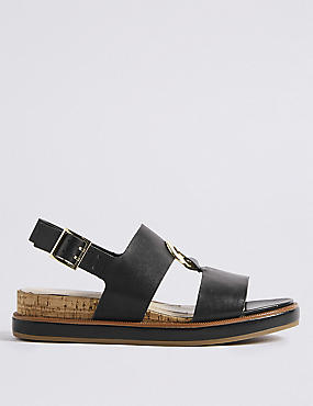 Leather Ring Detail Sandals