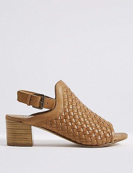 Leather Weave Slingback Sandals