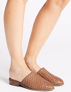 Leather Block Heel Weave Mule Shoe