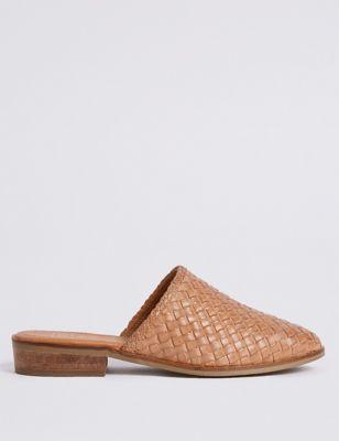Leather Block Heel Weave Mule Shoe by Marks & Spencer