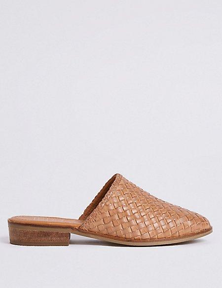 Leather Block Heel Weave Mule Shoe