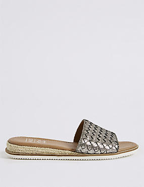 Leather Weave Mule Sandals