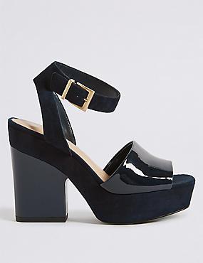 Leather Block Heel Two Part Sandals