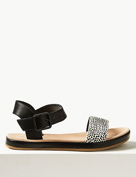 Leather Two Band Sandals