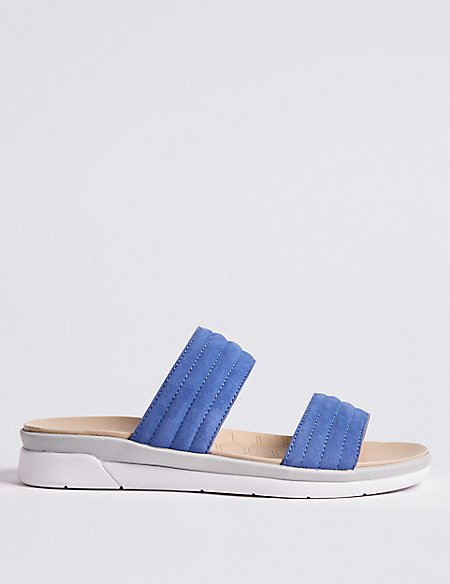 Suede Two Strap Mule Sandals