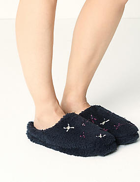 Mule Bow Detail Slippers, NAVY, catlanding