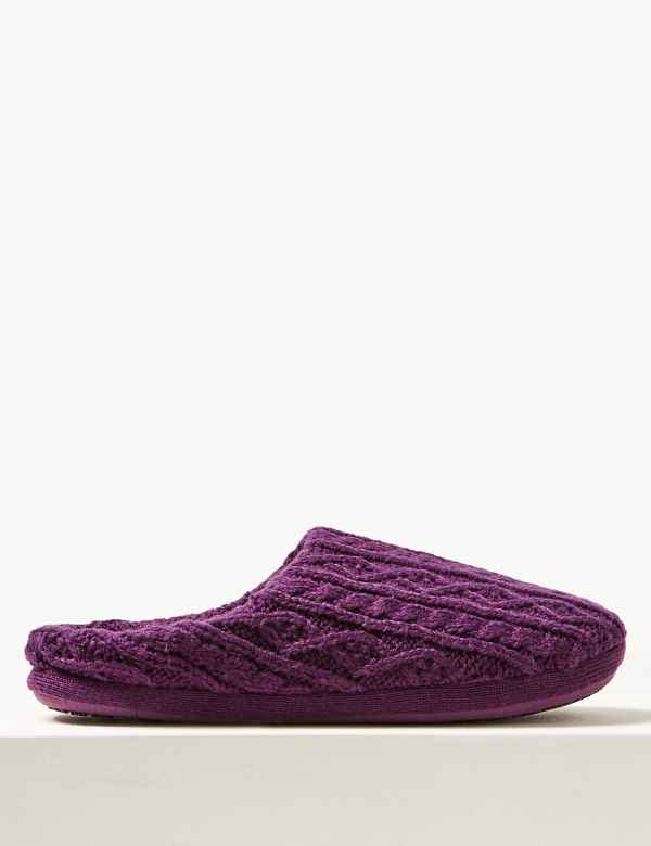 ace7818188496d Cable Knit Mule Slippers