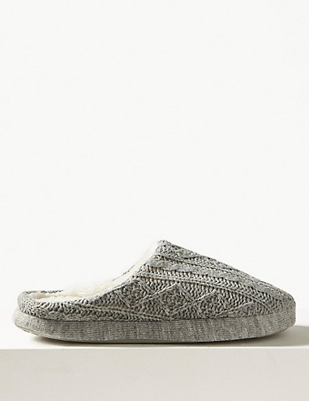 Cable Knit Mule Slippers