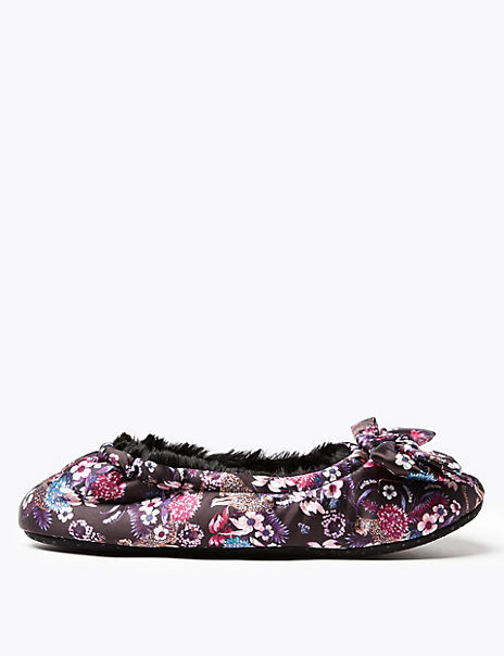 Satin Bow Ballerina Slippers