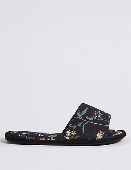 Floral Print Mule Slippers
