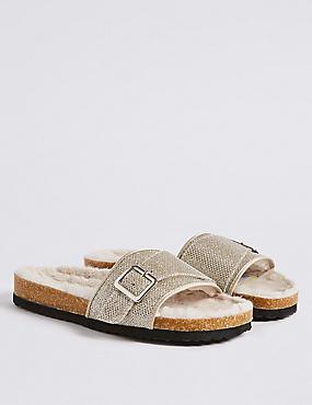 Faux Fur Buckle Slide Mule Slippers