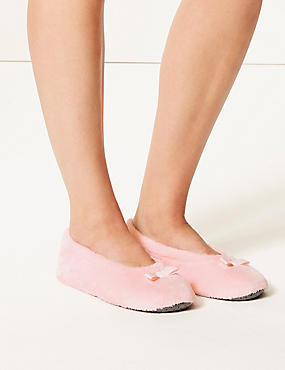 Bow Ballerina Slippers, PINK, catlanding