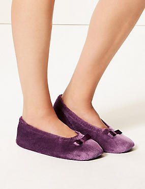 Bow Ballerina Slippers, PURPLE, catlanding