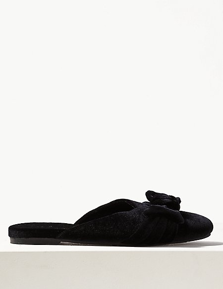 Soft Bow Mule Slippers