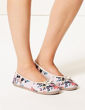 Floral Print Ballerina Slippers