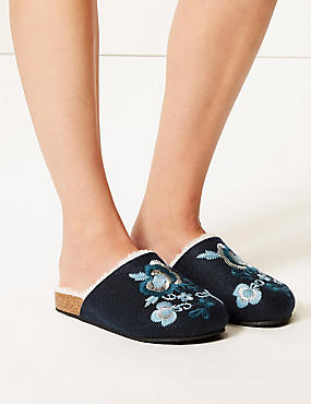 Embroidered Mule Slippers