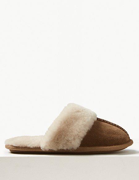 Suede Shearling Mule Slippers
