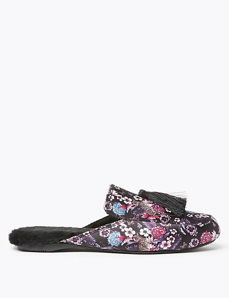 Floral Tassel Faux Fur Lined Mule Slippers