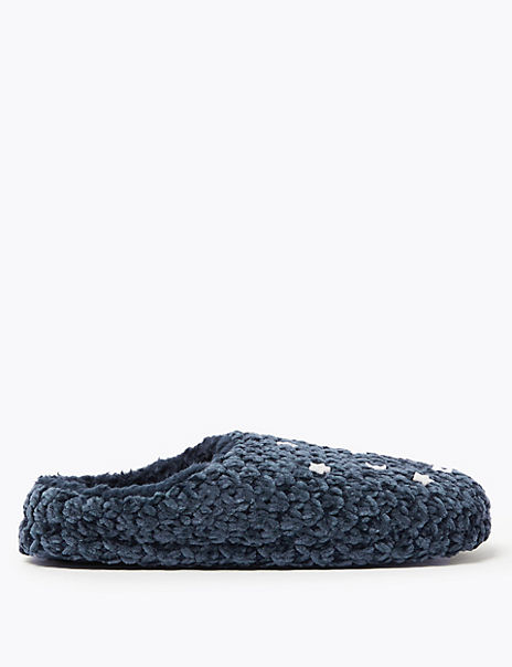 Button Trim Mule Slippers