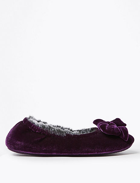 Velvet Bow Detail Ballerina Slippers