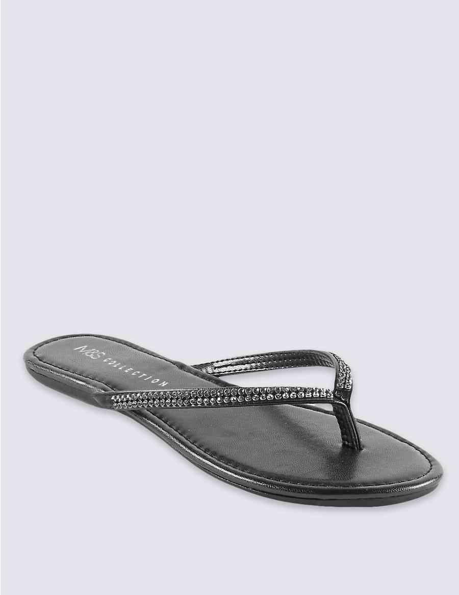44a4e638886f Skinny Diamanté Flip-Flops