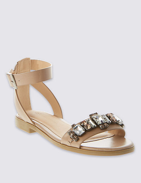 Two Part Jewelled Sandals