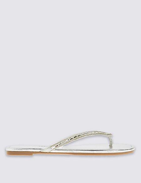 Bling Mirror Toe Thong Flip-Flops