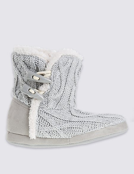 Cable Knit Slipper Boots Ms Collection Ms