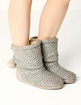 Snuggle Slipper Boots, GREY, catlanding