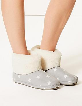 Star Print Faux Fur Slipper Boots